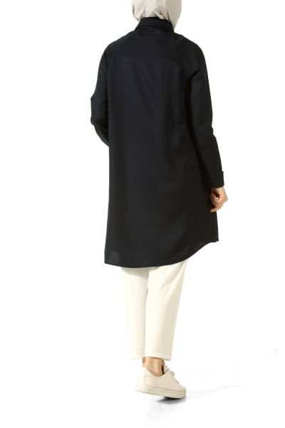 Hidden Button Raglan Sleeve Tunic
