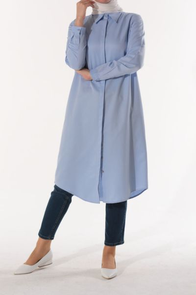 HIDDEN BUTTON SHIRT TUNIC
