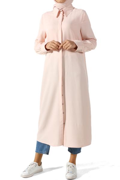Viskon Gizli Patlı Uzun Gömlek Tunik