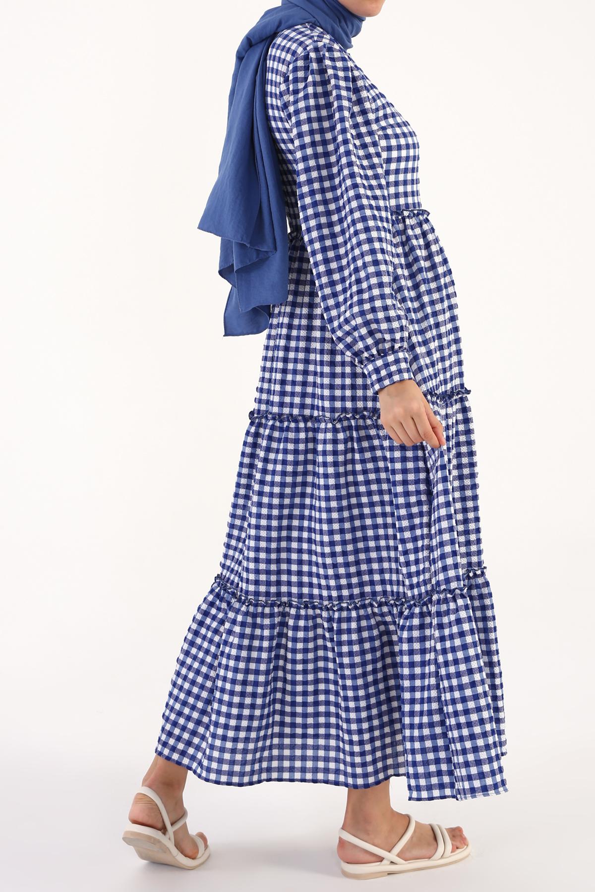 Gofre Kumaş Dokulu Desenli Elbise