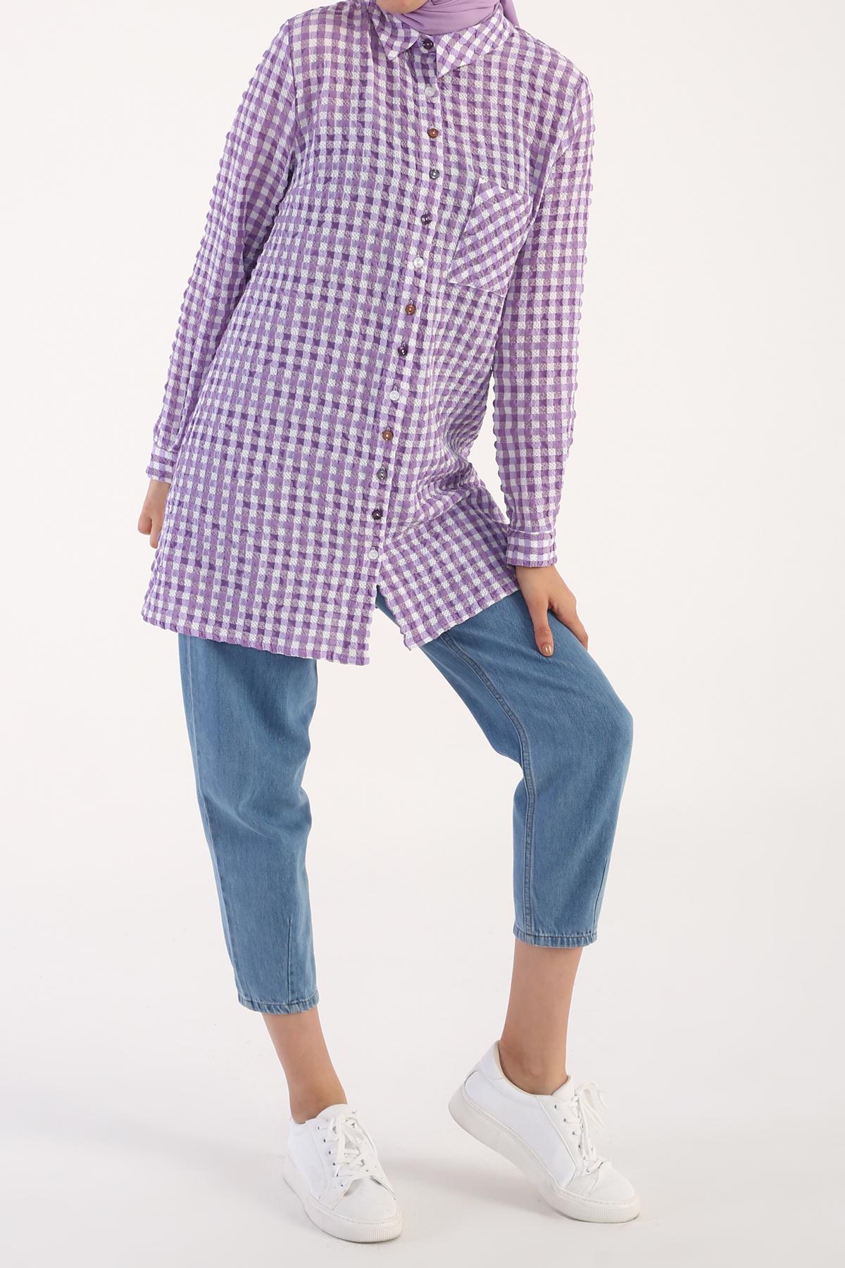 Seersucker Gingham Shirt Tunic