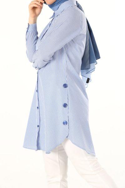 Çizgili Düğmeli Gömlek Tunik