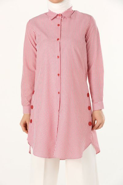 Striped Buttoned Shirt Tunic