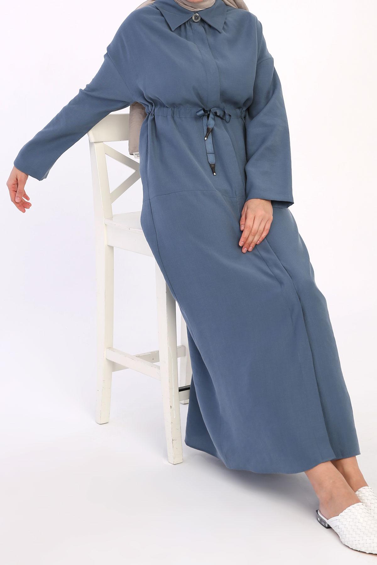 Shirt Collar Button Front Tencel Abaya