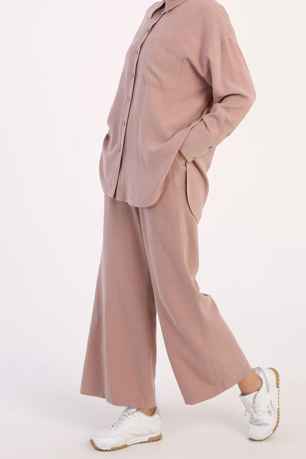 Comfy Long Shirt and Elastic Waist Pants Set