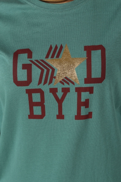 Good Bye Baskılı Penye Tunik