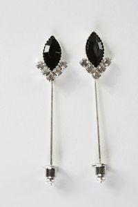 Gümüş Kaplama Siyah Eşarp ve Şal İğnesi