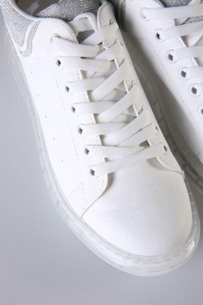 Gümüş Simli Şeffaf Taban Spor Ayakkabı