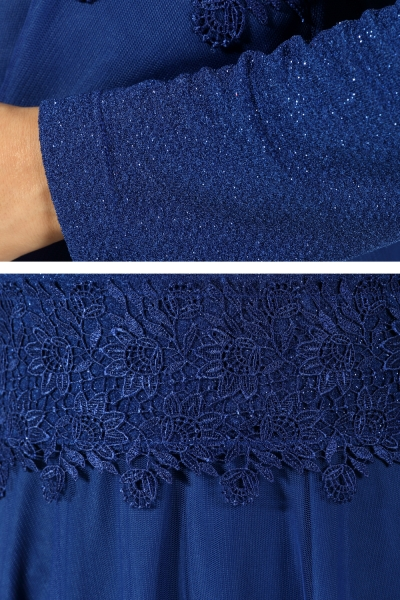 Guipure Detail Evening Dress