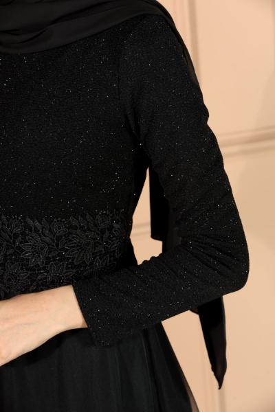 Guipure Detail Evening Dress