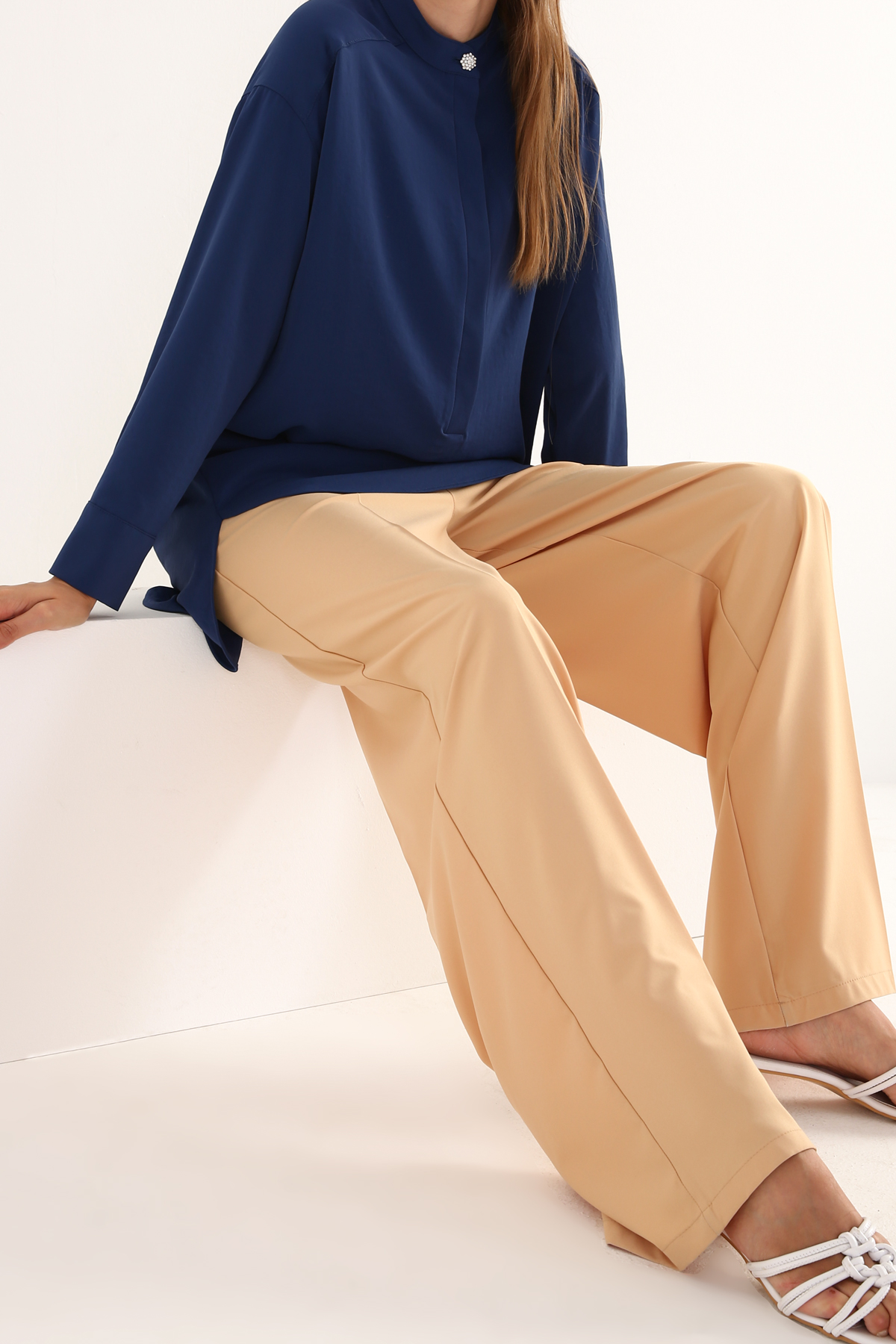 Mandarin Collar Comfy Button Detailed Tunic