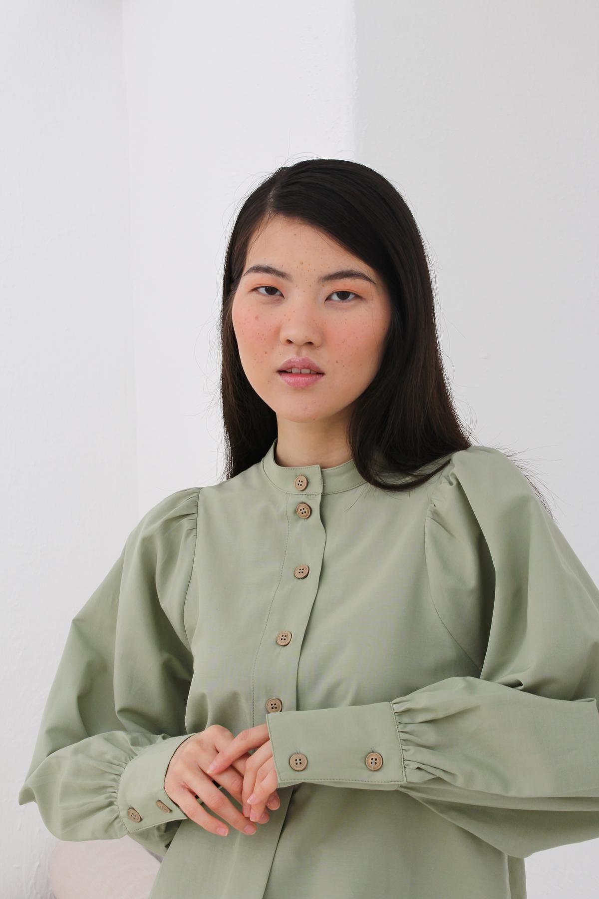 Cuff Sleeve Mandarin Collar Blouse
