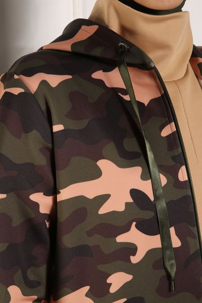 HANIEL Kapüşonlu Asker Desenli Fermuarlı Kap