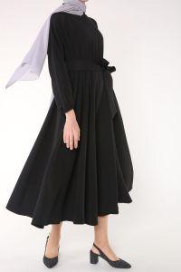 HANIEL Beli Lastikli Kuşaklı Elbise