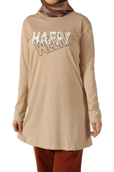 HAPPY WEEK PRINTED COMBED COTTON TUNIC