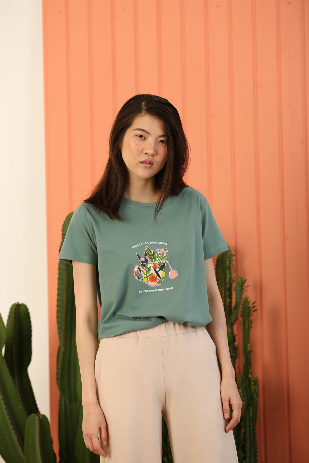 Hello Tea Tİme Printed Short Sleeve T-shirt