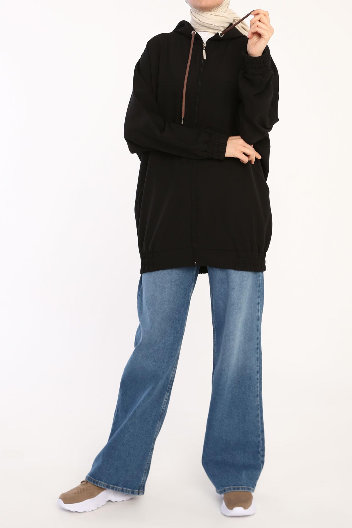 Zipper Front Comfy Hooded Cardigan