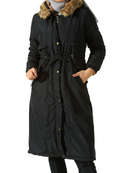 HOODED FUR LINED COAT