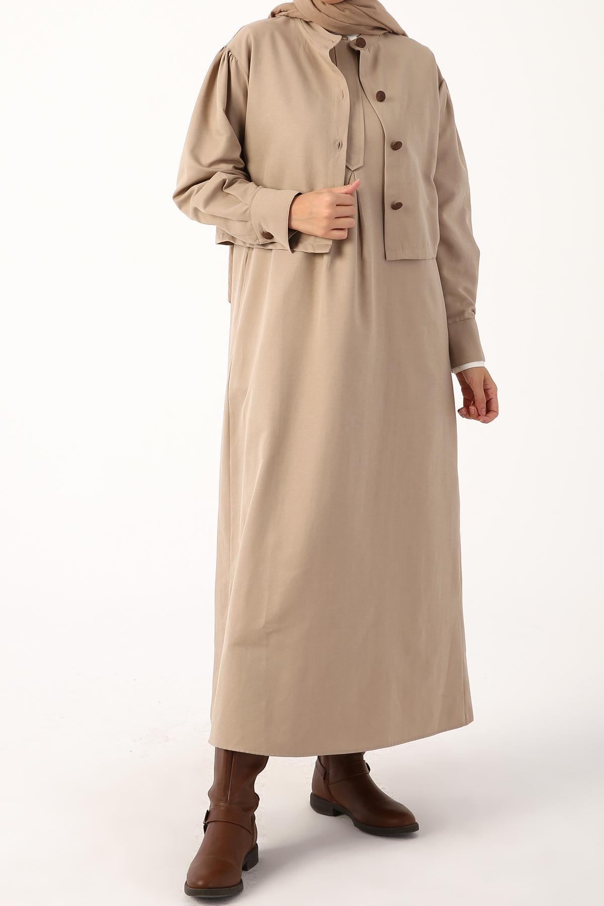 İki Parçalı Çok Amaçlı Pamuklu Cepli  Elbise