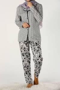 Desenli Düğmeli Viskon Pijama Takımı