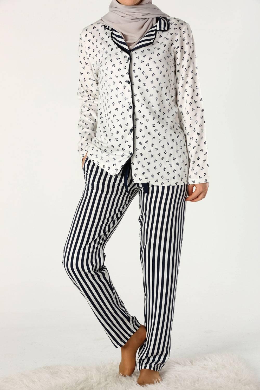 Desenli Viskon Pijama Takımı
