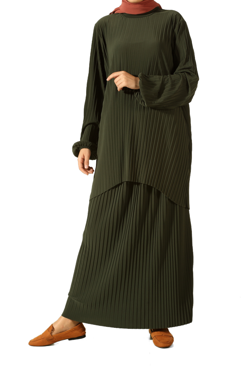 Pleated Hijab Suit With Skirt