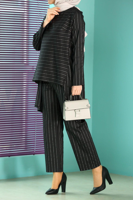 Striped Cotton Blouse and Pants Set