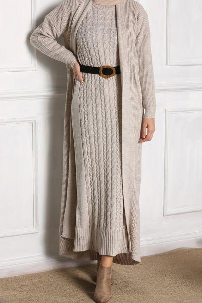 İkili Desenli Kemerli Örme Takım Elbise