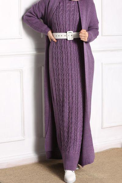 İkili Desenli Triko Takım Elbise