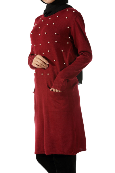 KNITWEAR TUNIC WİTH PEARL DETAİL