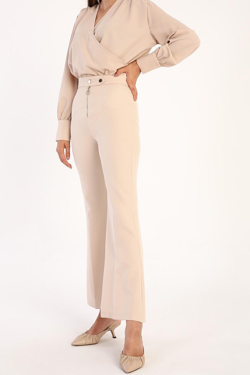 High Waist Zipper Front Flare Pants