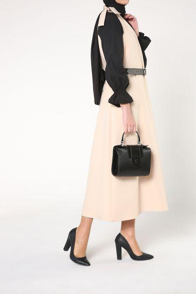 Omuzdan Bağcıklı Kemlerli Jile Elbise