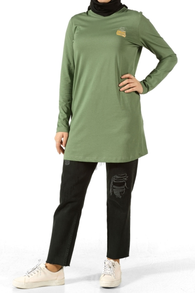 JUST START PRINTED COMBED COTTON TUNIC