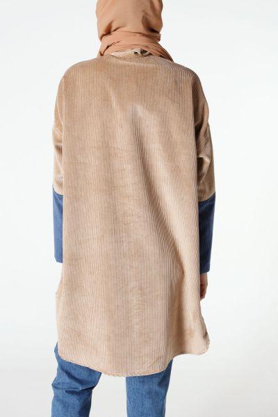 Çift Renkli Kadife Ceket