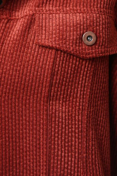 Düğmeli Salaş Kadife Ceket