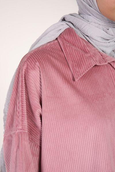 Kadife Çıtçıtlı Cepli Salaş Gömlek