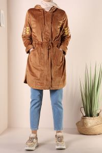 VELVET HOODED TRENCH COAT