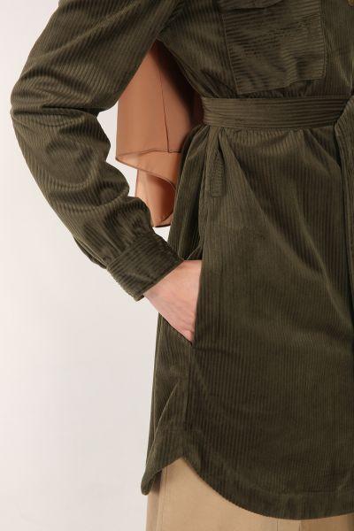Kadife Çıtçıtlı Kuşaklı Ceket
