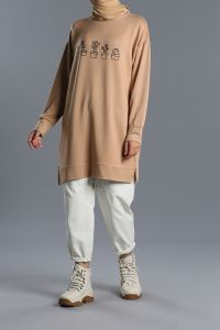 Printed Combed Cotton Sweatshirt Tunic