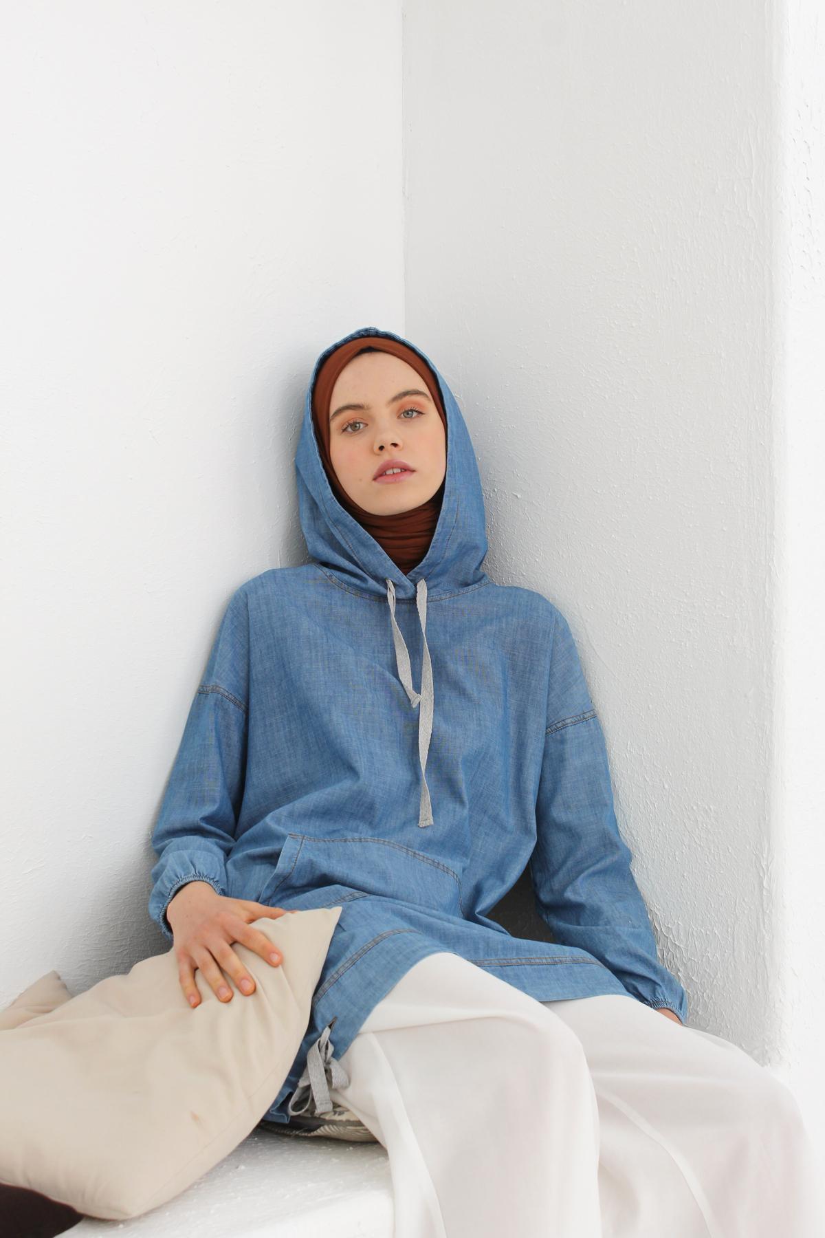 Kangaroo Pocket Hooded Jean Tunic