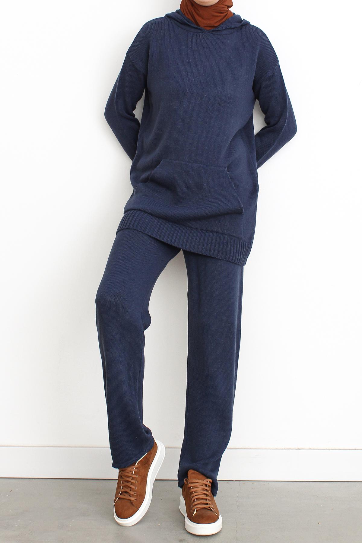 Hooded Kangaroo Pocket Blouse and Pants Set