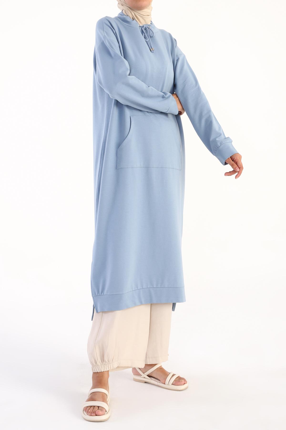Kangoroo Pocket Hem Slit Cotton Dress Tunic