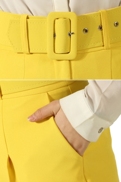 LINED BELTED PANTS