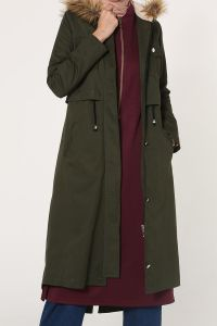HOODED LINED TEDDY TRENCHCOAT