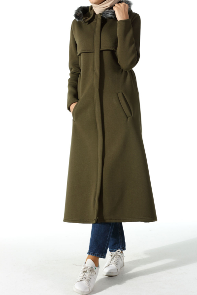 HOODED COMBED COTTON CAPE