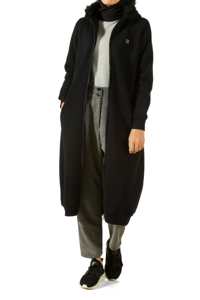 HOODED FUR CARDIGAN