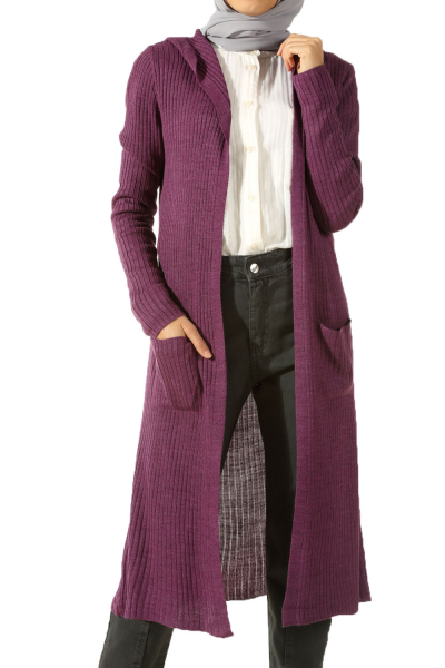 HOODED KNITWEAR CARDIGAN