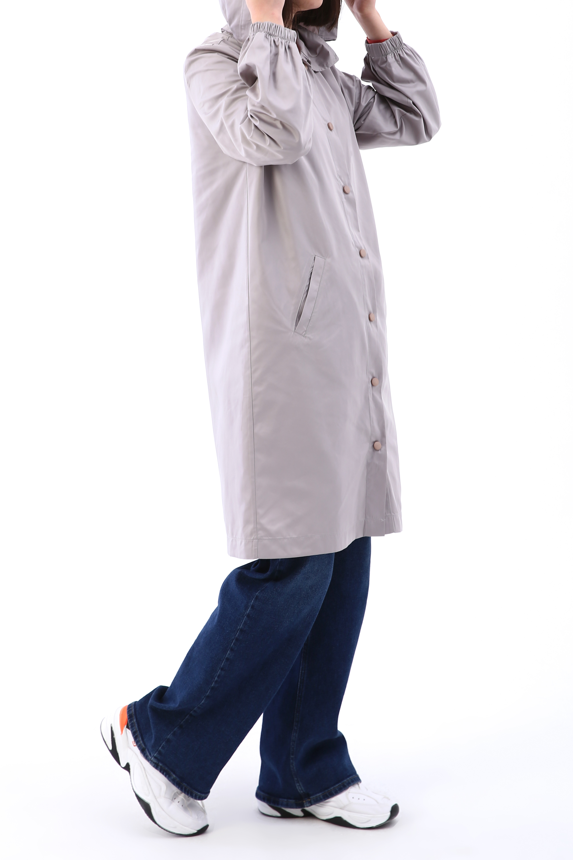 Button Front Hooded Raincoat