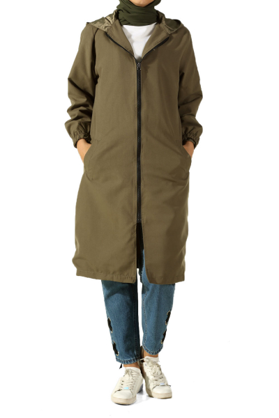 LINED TRENCH COAT WITH HOOD