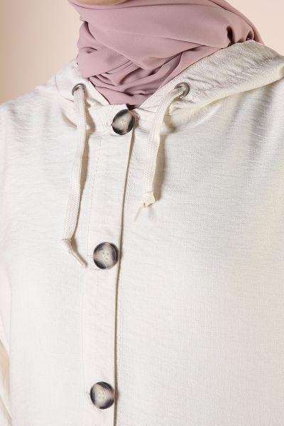 Kapüşonlu Pullu Ceket
